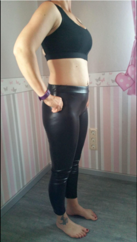 Sexy PU Leder blickdichte nathlose Thermo Leggings mit hoher Taille photo review